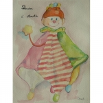 Aquarelle du doudou de Maëlle, réalisée par Chenel