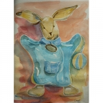 Aquarelle du doudou Lapin d'Emilien, réalisée par Chenel
