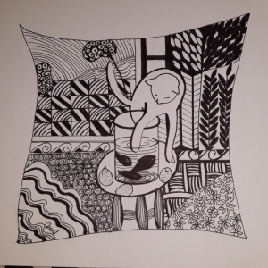Chenel - zentangle - chat - 21x29