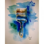 aquarelle de chenel, le pinceau, 21 x 29.7