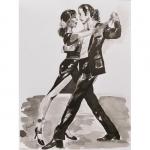 Encre de Chenel, les danseurs de tango 32 x 24