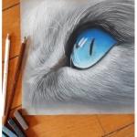 Chenel - Pastel sec - l'oeil du chat 20x20
