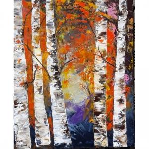 tableaux de chenel - les 5 bouleaux - 61x50