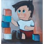 tableau de chenel - l'enfant joue aux cubes
