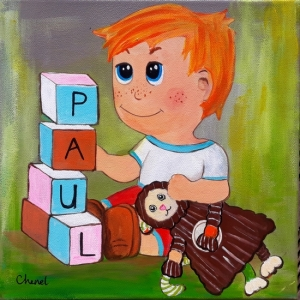 tableau de chenel - enfant - le tableau de paul 40x40